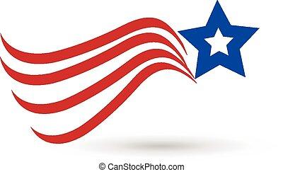 logo, américain, étoile, drapeau, icône