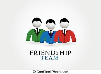 logo, amitié, équipe