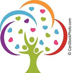logo, amour, arbre, gens