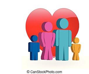 logo, amour, famille, 3d