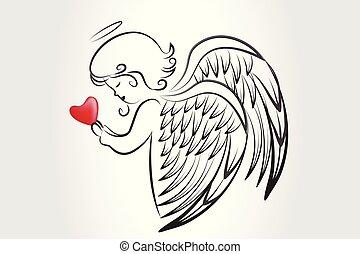 logo, amour, icône, coeur, prier, noël, ange