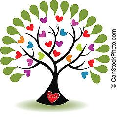 logo, amour, vecteur, arbre