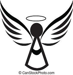 logo, ange, icône