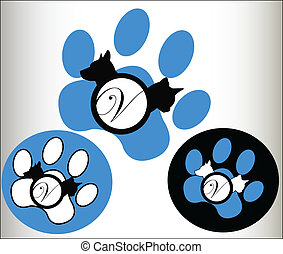 logo, animaux familiers, vétérinaire