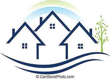 logo, appartements, maisons arbre