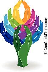 logo, arbre, coloré, mains