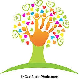 logo, arbre, enfants, mains