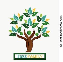 logo, arbre, famille, gens