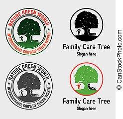 logo, arbre, famille, soin