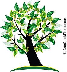 logo, arbre, fond