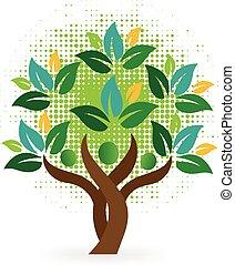logo, arbre, gens
