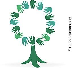 logo, arbre, mains