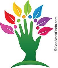 logo, arbre, pousse feuilles, main