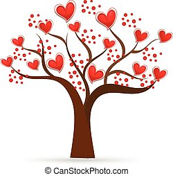 logo, arbre, valentines, aimez coeurs