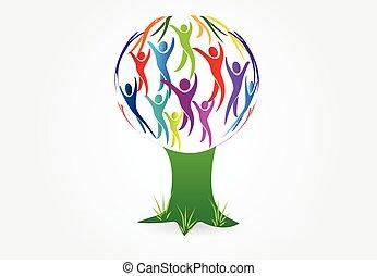 logo, arbre, vecteur, gens