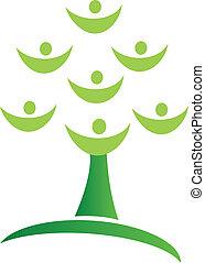 logo, arbre, vert, collaboration