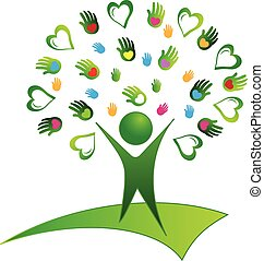 logo, arbre vert, mains