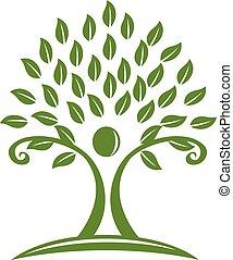 logo, arbre vert