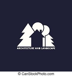 logo, arbres, maison
