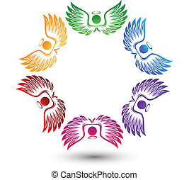 logo, autour de, anges