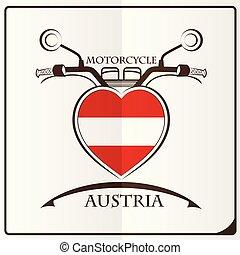 logo, autriche, fait, drapeau, motocyclette