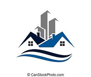 logo, bâtiment, propriété