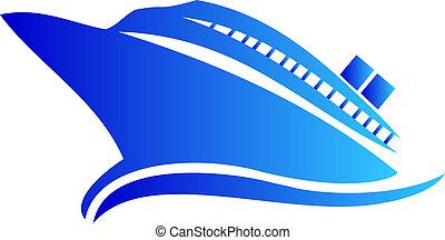logo, bateau, ou, croisière