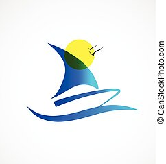 logo, bateau, soleil
