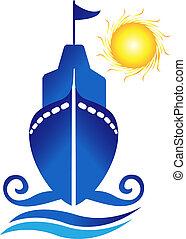 logo, bateau, vecteur, vagues, soleil