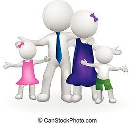 logo, blanc, 3d, famille, gens