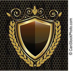logo, bouclier, or