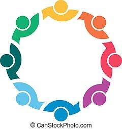 logo, cercle, ensemble, gens