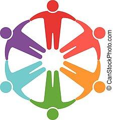 logo, cercle, gens