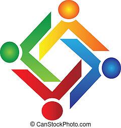 logo, charité, vecteur, collaboration, gens