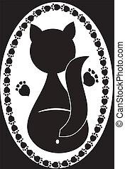 logo, chat noir