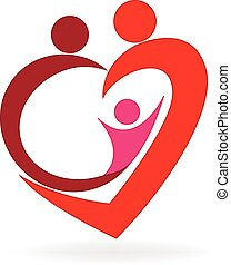 logo, coeur, amour, famille
