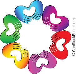 logo, coeur, collaboration, mains