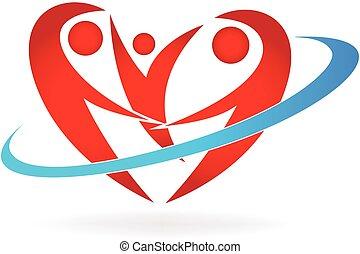 logo, coeur, famille