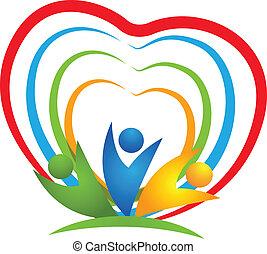 logo, coeur, gens, connexions
