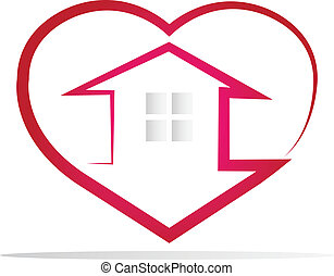 logo, coeur, maison, silhouette