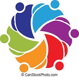 logo, collaboration, étreindre