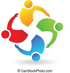 logo, collaboration, étreindre, gens