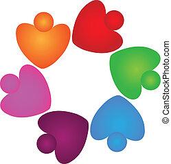 logo, collaboration, cœurs, portion