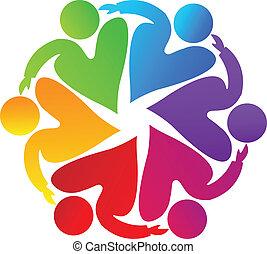 logo, collaboration, charité, gens