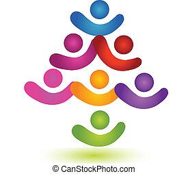 logo, collaboration, coloré, arbre, social