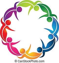 logo, collaboration, coloré, pousse feuilles