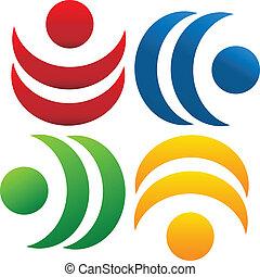 logo, collaboration, communauté, gens