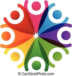 logo, collaboration, gens, heureux