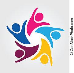 logo, collaboration, gens, unité