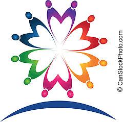 logo, collaboration, gens, vecteur